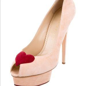 Charlotte Olympia pink peep toe heart pumps